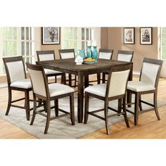 Furniture of America Midkiff Transitional 9 Piece Counter Height Wood Dining Table Set - IDF-3435PT-9PC