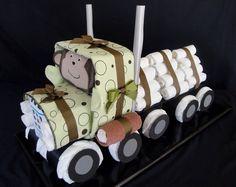 Semi-truck Diaper Cake www.facebook.com/DiaperCakesbyDiana