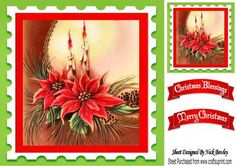 Red poinsettias with candles 8x8 on Craftsuprint - Add To Basket!