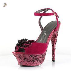 Ellie Shoes E-688-Anna 6 Heel Lava Platform With Flower 6 / Fushsia - Ellie shoes pumps for women (*Amazon Partner-Link)