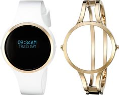 Anne Klein Women's AK/2010WFIT Digital FashionFit Interchangeable White Silicone Strap and Gold-Tone Bangle Watch Set ** You can find out more details at the link of the image.
