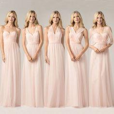 Peachy Pink Bridesmaid Dress Long Chiffon Cheap Wedding Party Dress Vestido De Festa Custom Color&Size Mix Style Formal Dress