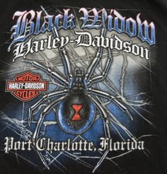 Black Widow Spider Large Harley Davidson T Shirt Port Charlotte, Florida FL Snake Tee