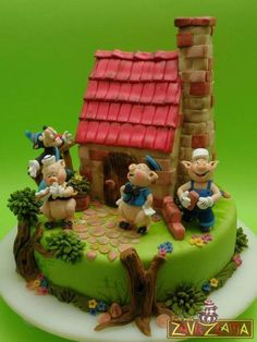Three Pigs And The Big Bad Wolf Cake