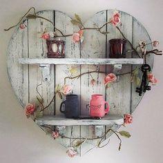 pallet heart shelf art