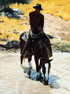 Cowboy Artist Bill Owen - Taking a Break at the Stream. Cowboy Girl, Cowgirl And Horse, Western Cowboy, Cowboy Artwork, Western Artists, Bill Owen, Real Cowboys, American Frontier, Southwest Art