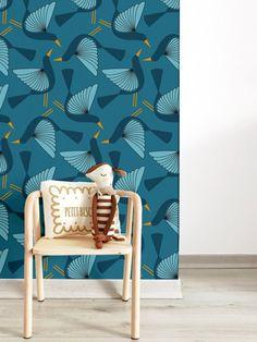 Papier peint Oiseaux bleu - Zina Lahrichi x émoi émoi EMOI EMOI - Photo