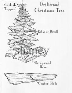 beachstring: Driftwood Christmas Trees & Seashell Garland