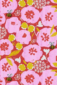 Red, pink, and mustard floral print by ottoman brim. Bumble bees flying through the flowers! Great for upholstery projects or summer napkins. Available in fabric, wallpaper, and gift wrap.