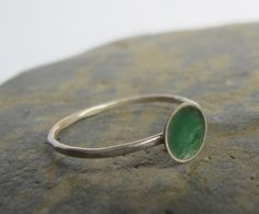 Sterling silver ring with emerald green by SilverJewelleryHS, £30.00