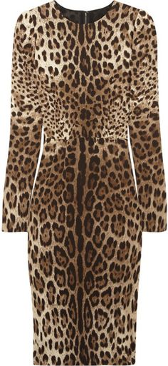 DOLCE & GABBANA Leopardprint Crepe Dress