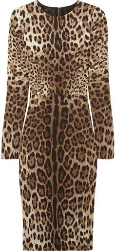 DOLCE & GABBANA   Leopardprint Crepe Dress
