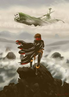 This is totally awesome! Captain Harlock never looked so epic! Space Pirate Captain Harlock, Film Anime, Manga Anime, Comic Character, Character Design, Science Fiction, Japanese Cartoon, Sci Fi Fantasy, Space Fantasy