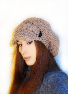 Items similar to Winter slouchy newsboy crochet hat / womens Wool hat on Etsy Crochet Winter Hats, Crochet Hats, Black Glass, Small Gifts, Wool Blend, Crocheting, Glass Beads, Caramel, Etsy Shop