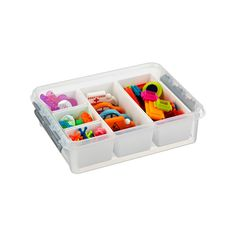 """The Container Store > Small Smart Store System Tote  Another option for holding threads wound around cards.  Item #10051177  11-3/4"""" x 15-3/4"""" x 4-3/4"""" h  $8.99, without inserts"""