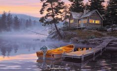 Silent Shores by Darrell Bush presented by World Wide Art Thomas Kinkade, Paintings I Love, Cross Paintings, Pretty Pictures, Art Pictures, Photos, Fotos Download, Image Deco, Ascii Art