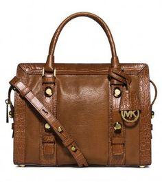 Michael Kors Collins Stud Walnut Leather Satchel