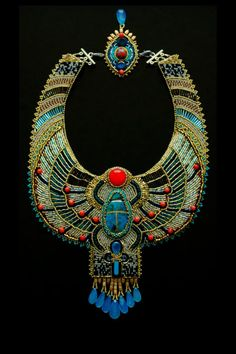 Bead Embroidered Egyptian Scarab Necklace