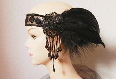 Art Deco Black Beads Beaded Headband  1920 20s Flapper Girl Inspired Great Gatsby Heapiece