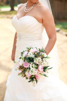 Garden Bridal Bouquet with Pink Peonies, Lisianthus, Stock, Assorted Greenery