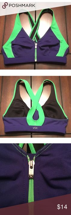Victoria's Secret VSX Sexy Sport Bra • Brand new without tags • Best fit: 30A, 32A, 32AA, 32A or 32B • Color: Royal Purple & Neon Green • Black lining • Minimum support bra. Best for low impact workouts. • Wireless, no padding • Front-zip closure • Looped back (unadjustable) • VSX logo on back Victoria's Secret Intimates & Sleepwear Bras