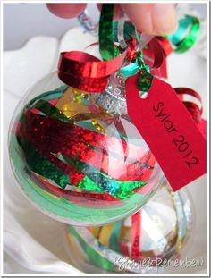Share and Remember: Ribbon Ornaments -- Great easy preschool friendly craft that works on fine motor skills!