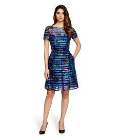 Tahari Don Violet/Aqua  Dress ♥