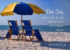 Down By The Seashore by Peggy Hughes Parasols, Umbrellas, Isle Of Palms, Peaceful Places, Sun Lounger, Seaside, Serenity, Favorite Things, It Cast
