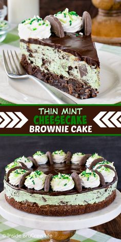 Thin Mint Cheesecake Brownie Cake - layers of creamy mint cheesecake and chewy homemade brownies make this a delicious dessert. Great chocolate treat to share with friends and family. Mint Cheesecake, Cheesecake Brownies, Cheesecake Recipes, Mint Chocolate Cheesecake, Mint Chocolate Cupcakes, Chocolate Mint Brownies, Pumpkin Cheesecake, Brownie Recipes, Chocolate Treats