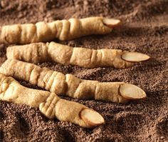 """Maple cinnamon Witches' Fingers. """"You needn't have a steady hand or any advanced decorating skill to make these crunchy cookie fingers."""" Sooo fun and they sound delicious!"""