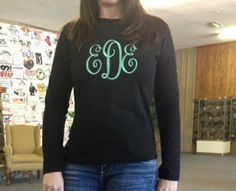 Full Front Monogram on Long Sleeve Tee by WhoDeyPromotions on Etsy, $30.00