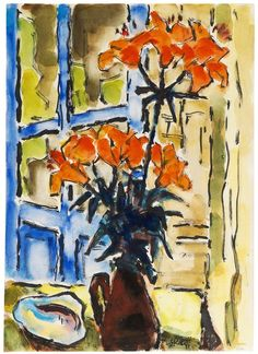 Karl Schmidt-Rottluff: Blumenstillleben auf dem Balkon, 1967. Watercolor and India ink drawing