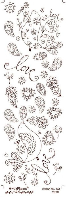 Tambour Embroidery, Hand Embroidery Stitches, Embroidery Patterns, Paisley Doodle, Bird Outline, Gardenias, Doodle Patterns, Flower Doodles, Art Journal Inspiration