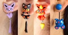 Show off your love for Pokemon with an adorable clinging earring!Made from polymer clay and positively cute, these earrings come in the shape of your favorite Pokemon and appear asthough they're holding onto your ears.