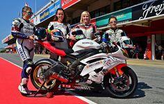 YAMAHA YZF R-6 600 / Girls Racing Team / FRA / Amandine Creusot / Jolanda van Westrenen / Katharin Zimpel / Muriel Simorre Lady Biker, Biker Girl, Yamaha Yzf R, Barcelona, Racing Team, Motogp, Pilot, Female, Bikers