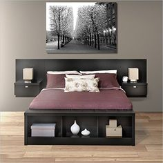 Prepac Series 9 Platform Storage Bed with Floating Headboard in Black - Queen, Bench not included