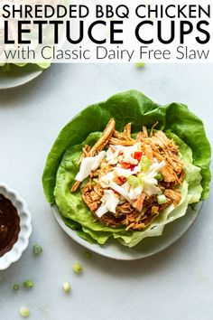 Make summer meals go easier this summer with this Instant Pot BBQ Chicken Lettuce Cups and traditional dairy free mayo. Such a tasty and delicious recipe! thetoastedpinenut.com #thetoastedpinenut #instantpot #instantpotchicken #shreddedchicken #bbqchicken #lettucecups #lettucewraps Clean Dinner Recipes, Clean Eating Dinner, Clean Eating Recipes, Meat Recipes, Slow Cooker Recipes, Chicken Recipes, Healthy Recipes, Healthy Salads, Healthy Eating