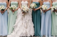 Working at a bridal store I normally hate mismatched bridesmaids, but this could be cute if done right Mismatched Bridesmaid Dresses, Bridesmaids And Groomsmen, Wedding Bridesmaids, Wedding Dresses, Bridesmaid Colours, Turquoise Bridesmaids, Casual Bridesmaid, Bridesmaid Gowns, Party Dresses