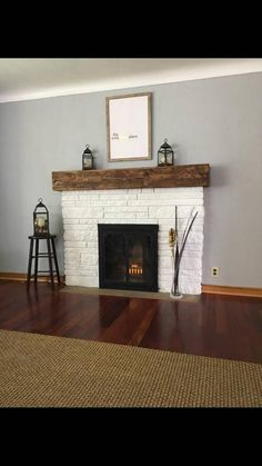 Custom made sized mantles or floating shelves. Distressed and any color stain yo. - Custom made sized mantles or floating shelves. Distressed and any color stain you would like. White Wash Brick Fireplace, Wood Mantle Fireplace, Painted Brick Fireplaces, Brick Fireplace Makeover, Farmhouse Fireplace, Fireplace Remodel, Fireplace Design, White Painted Fireplace, Electric Fireplace With Mantle