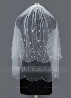 Two-tier Elbow Bridal Veils With Beaded Edge (006034198)