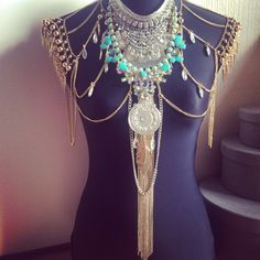 Bohemian fringed turquoise silver gold body chain  shoulder cape