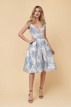 Rochie Midi din Brocard Bleu Marissa Girly, Retro, Floral, Dresses, Design, Fashion, Atelier, Dress, Women's