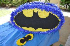 Pinata at a Batman superhero boy birthday party!  See more party ideas at CatchMyParty.com!