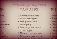 Contains a link to some wonderful journal prompts!