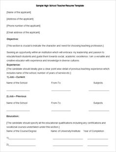 sample high school teacher resume template how to make a good teacher resume template - Making Resume Format