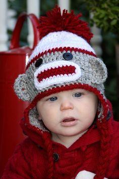 Sock Monkey Hat by HookedOnHudson on Etsy, $26.99