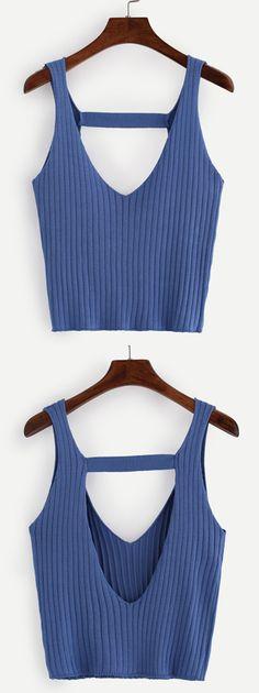 Cutout Back Ribbed Knit Top - Blue