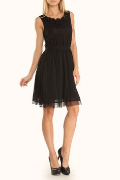 Corsica Dress in Black Lace and Tulle