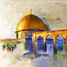 #DomeofRock #Palestine #al-aqsa #architecture #painting Painting Of Girl, Figure Painting, Terra Santa, Palestine Art, Landscape Art Quilts, Dome Of The Rock, Islamic Art Pattern, Islamic Paintings, Dance Paintings