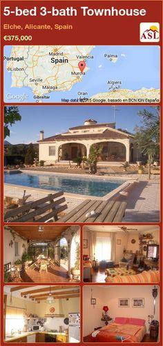 5-bed 3-bath Townhouse in Elche, Alicante, Spain ►€375,000 #PropertyForSaleInSpain Automatic Gate, Alicante Spain, Summer Kitchen, Central Heating, Murcia, Seville, Malaga, Beautiful Beaches, Townhouse